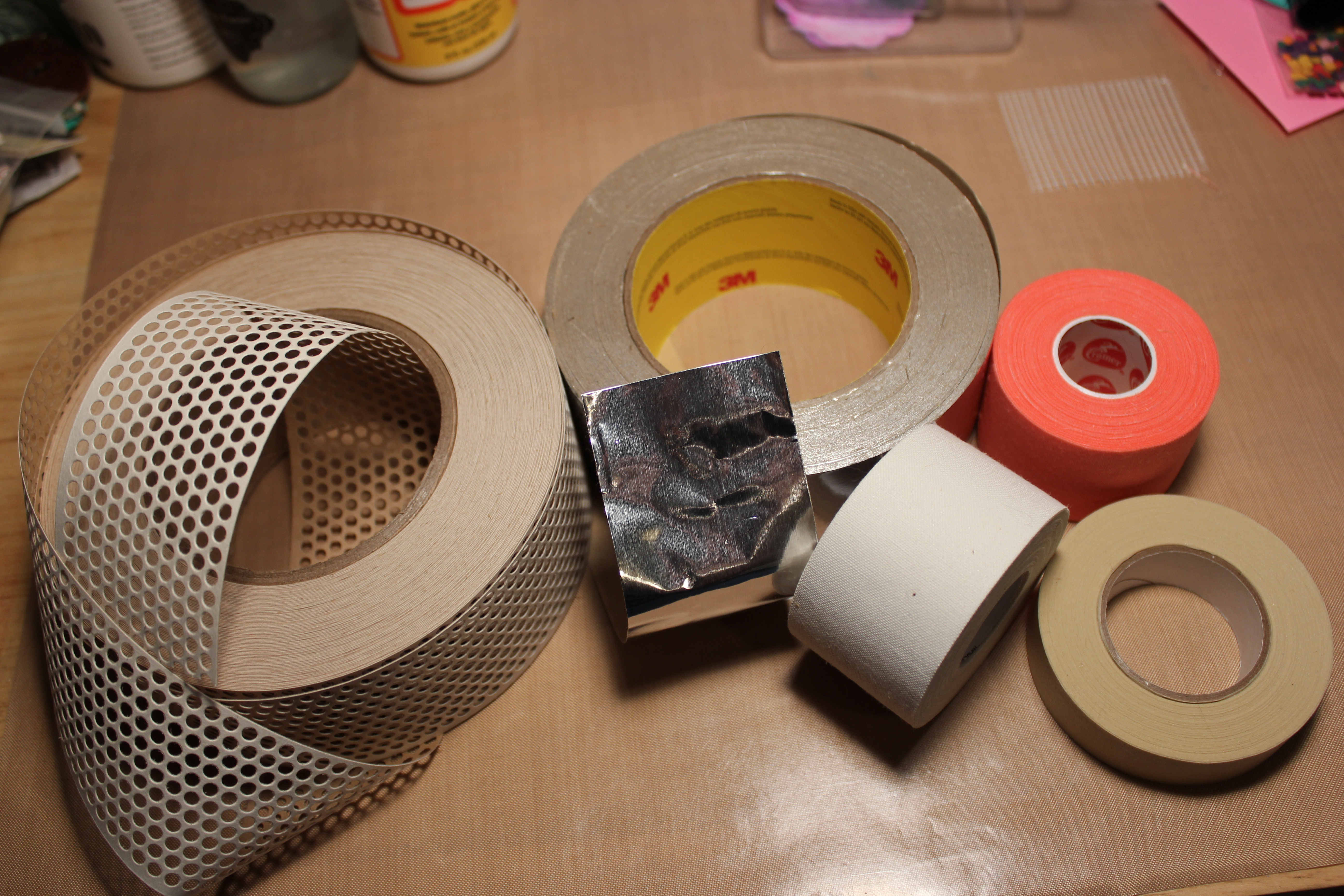 Drywall tape blue crafty on the far left is some tape stuff with circles this is also drywall tape it is white paper with an adhesive back youll find it right next to the mesh jeuxipadfo Image collections